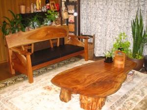 一枚板ソファ椅子 (4)